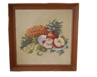 Vintage Needlepoint Still Life Picture Fruit Pineapple Apple Grapes Hand Embroidered 12 X 12 Finished Picture in Frame Shabby Cottage