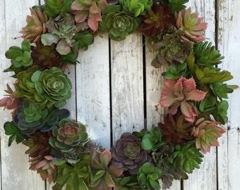 Succulent Wreath, Living Wreath, Artificial Succulent Wreath for Door, Large Succulent Wreath, Everyday Wreaths