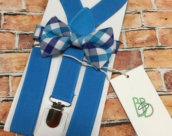 Little Boys Bow Tie and Suspender Set - Sky Blue and Royal Plaid