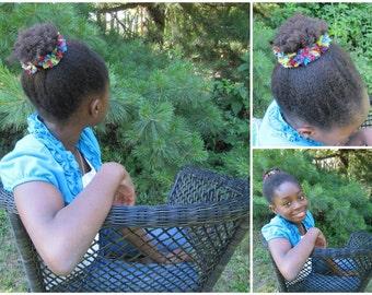 One Rainbow Bun Scrunchie, Crocheted Ponytail Holder, Rainbow Glitter Scrunchie, Crochet Bun Scrunchie, Girls Hair Accessory, 1 Bun Cover