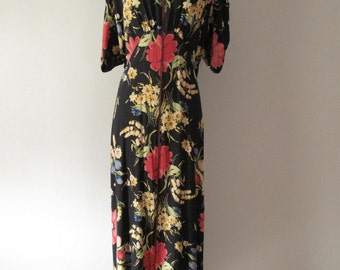 Vintage 1940s Rayon House Dress - Floral Print - 40s Hostess Gown