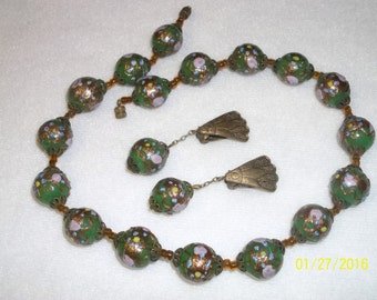 Vintage Venetian Wedding Cake Bead Necklace and Earring Set