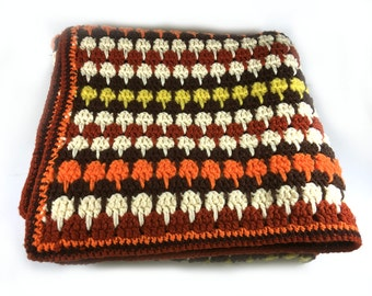 Vibrant Autumn Stripes Crocheted Afghan Throw, Outlined in Brick and Chocolate Brown