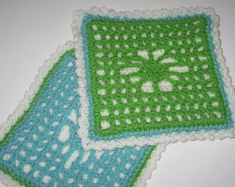 Potholder Hot Pad Set Pair Lime Green Turquoise Reversible Crocheted Free Shipping