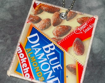 Mini Luggage Tag from Recycled Blue Diamond Smokehouse Almonds Bags