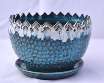 Turquoise and White Berry Bowl - Ceramic Colander - Stoneware Pottery
