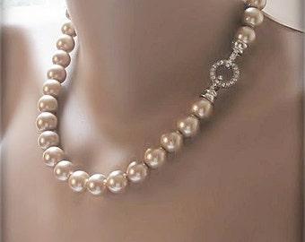 Glass bridal pearl, Wedding  caramel  necklace,  rhinestone closure
