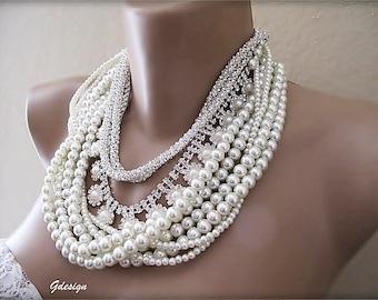 Chunky Bridal Necklace , Handmade Wedding Necklace,  Rhinestone Bride Pearl Jewellery, Statement Necklace, Wedding Necklace, earring is gift