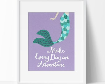 Mermaid Nursery Art Print, Girl's Room Decor, Nautical Wall Art, Under The Sea, Adventure Wall Decor, Purple and Teal Nursery, Mermaid Print