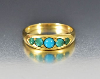 Antique Victorian Turquoise Ring, 18K Gold Wedding Band Ring, Five Stone Ring, Boho Rings, Gold Stacking Ring, Turquoise Statement Ring
