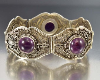 Antique Chinese Amethyst Bracelet, Silver Filigree Bangle Bracelet, Art Deco Bracelet, Chinese Antique Jewelry, Vintage Chinese Bracelet