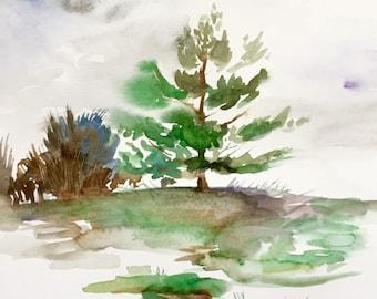 "First Snow, Landscape Watercolor, Original Painting, 9""x12"""