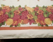 A Large Fall Tablecloth, 110 x 60, Perfect, Pears, apples, Grapes, Cherries, Fall Colors, Has Mate that is 60 x 80