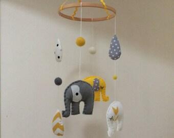 Bright Yellow & Grey Felt Elephant Baby Crib Mobile