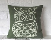 Pillow Cover - Cushion Cover - Owl - 12 x 12  inches - Choose your fabric and ink color