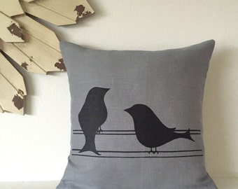Pillow Cover - Two Birds - 12 x 12 inches - Choose your fabric and ink color - Accent Pillow