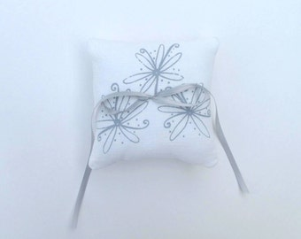 Ring Bearer Pillow, Wedding decor, Floral Ring Bearer Pillow, 6 x 6 inches - Choose your fabric and ink color