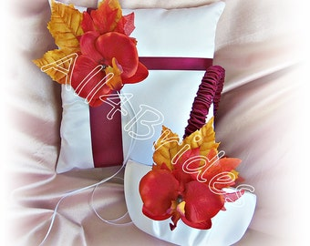 Fall Leaves Wedding Basket and Pillow, Flower Girl Basket and Ring Bearer Pillow Set Burgundy, Persimmon and Burnt Orange