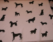 RESERVED for Pink Blush Pink & Black Rayon Chiffon Fabric with Dog Silhouette Shapes 41 in Wide By the Yard C343