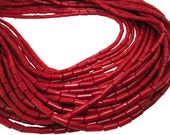 Red Coral Beads, Red Coral, Smooth Cylinder, 3mm x 7mm, SKU 4238A