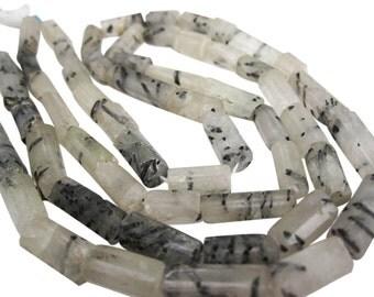 Tourmalated Quartz Beads, Faceted Tubes, Tourmalinated Quartz, 6mm x 16mm, SKU 4583A