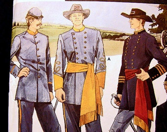 Mens Civil War Uniform Pattern Officer Soldier Infantry Union Confederate Adult size Chest 30 to 48 inches UNCUT Costume Sewing Pattern