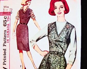 1960s Jumper Dress Pattern Plus Size Dress Pattern, 20 Bust 40 UNCUT Womens V Neckline Jumper Dress Vintage Sewing Pattern 60s
