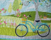 Wall Hanging Table Topper Sunday Ride Quilted Room Decor Summer Wall Art