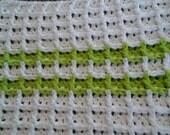Green Striped Waffle Dishcloth /Crocheted Waffle Stitch Dishcloth /Dishcloth Crocheted Dishcloth