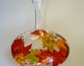 Wine Decanter hand painted with colorful Autumn Leaves
