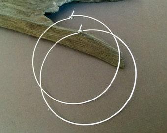 """2.25""""; 2.5"""" inch; 2.75"""" inch, Gold Hoop Earrings, Hoop, Hammered sterling silver Hoop Earrings, Gold Hoops, 14KT Gold Filled Hoop Earrings"""