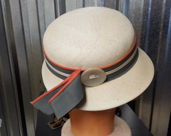 Vintage Spring Creme Gray and Peach Ladies Pill Box Style Hat