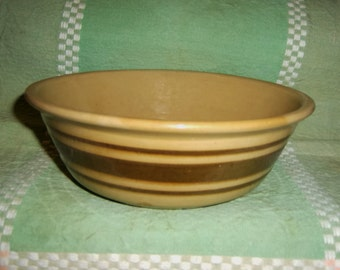 Antique Yellow Ware BOWL Brown Bands old vintage stoneware yellowware yellowware low mixing dough