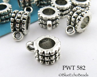 9mm Pewter Slider Charm Bail Antiqued Silver (PWT 582) 12 pcs BlueEchoBeads