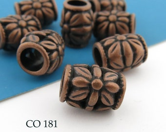 Large Hole Antique Copper Barrel Flower Bead 11mm  (CO 181) 10 pcs BlueEchoBeads