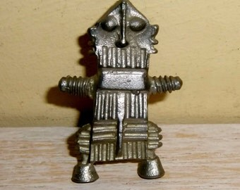 ROBOT PIN vintage signed jewelry steampunk space age retro futurism industrial machine