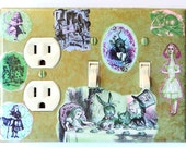 4 CHOICES of Alice in Wonderland Triple Switchplates- Alice in Wonderland wall decor Alice in Wonderland book Alice light switch covers (P)