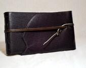Small Elongated Dark Purple Leather Photo Album with Handmade Paper