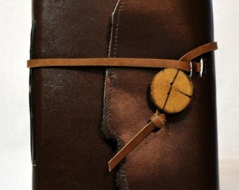 Large Dark Brown Leather Journal with Lined Paper