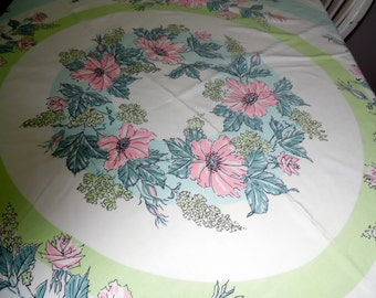 Beautiful Vintage Tablecloth Pink Roses and Turquoise Floral Design ECS SVFT