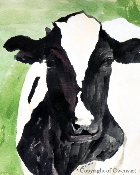 Cow Print 8.5 x 11 paper size Black and White cow in green Cow print of original watercolor painting Cow art Cow picture Holstein cow