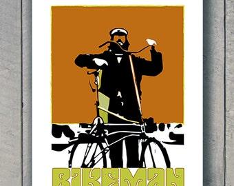 Bikeman Retro Style Pop Art Bicycle Poster