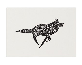 Running Wolf - A3 Recycled Art Print
