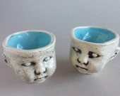 Baby doll head shot glasses with blue, sake glasses, espresso shot glasses, demitasse, espresso cups