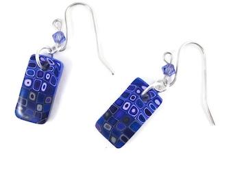 Handmade Retro Cane Polymer Clay Pierced Earrings Dangle Earrings Purple Lavender Gray Swarovski Crystal Sterling Silver Wires Art Jewelry