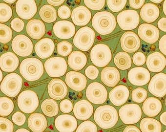 "Martha Negley Tree Rings Quilting 18"" BTHY Ring Green Nature Woodgrain Rowan Westminster Half Yard 18"" Quilt Fabric HY BHY"
