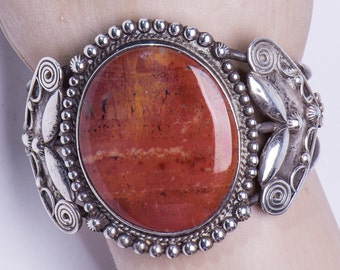 BIG Harvey Agate Bracelet - Sterling Decorated Cuff - Petrified Wood - 40s Bracelet