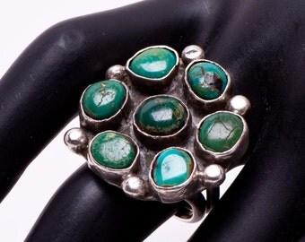 Navajo Turquoise Ring - Blue Gem Mine - Cluster Sterling Ring - sz 7