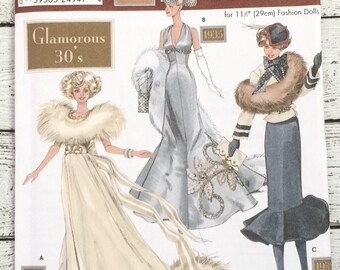 """Simplicity 9704 Doll Collectors Club Doll Clothes 11-1/2"""" Sewing Pattern Glamorous Thirties Barbie UNCUT"""