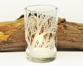 Reaching Branches Candle Holder Engraved Glass Heavyweight Votive Holder Holiday Home Decor Wedding Decor